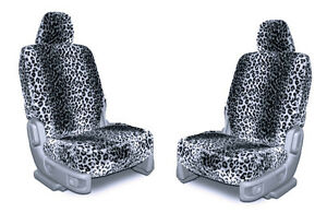 Gray Leopard Wild Faux Sheepskin Soft Plush Seat Cover