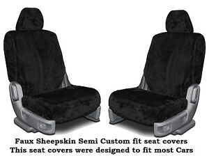 Black Faux Sheepskin Soft Plush Low Back Semi Custom Seat Covers