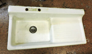Antique Cast Iron Farmhouse Wall Mounted Kitchen Sink W Drainboard