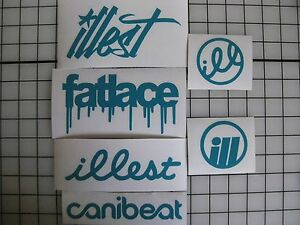 6 Sticker Pack2 Teal Vinyl Decal Fatlace Illest Canibeat Jdm Drift Race Car Vip
