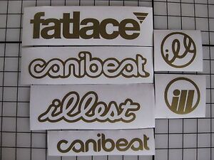 6 Sticker Pack1 Gold Vinyl Decal Fatlace Illest Canibeat Drift Race Car Jdm Vip