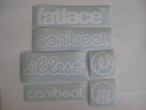 6 Sticker Pack1 White Vinyl Decal Fatlace Illest Canibeat Jdm Drift Race Car Vip