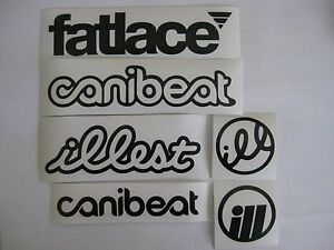6 Sticker Pack1 Black Vinyl Decal Fatlace Illest Canibeat Jdm Drift Race Car Vip