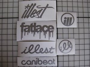 6 Sticker Pack2 Silver Vinyl Decal Fatlace Illest Canibeat Jdm Drift Race Car