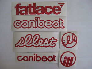 6 Sticker Pack1 Red Vinyl Decal Fatlace Illest Canibeat Jdm Drift Race Car Vip