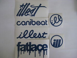 6 Sticker Pack2 Blue Vinyl Decal Fatlace Illest Canibeat Jdm Drift Race Car Vip