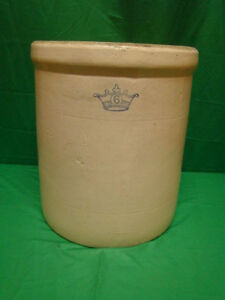 Antique Robinson Ransbottom 6 Gallon Blue Crown Stoneware Crock Pottery