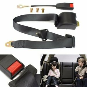 Universal 2 6m Car 3 Point Retractable Fixed Auto Car Safety Seat Belt Kit Black
