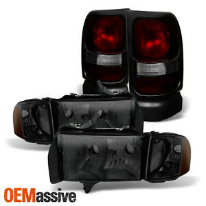 For 1999 2001 Dodge Ram 1500 Sport Smoked Headlamps Dark Red Tail Lights Pair