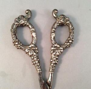 Antique German Scissors Sterling Silver Handles Grape Shears Made In Germany