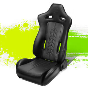 Nrg Innovations Arrow Pvc Fully Reclinable Racing Bucket Seat Left Rsc 810bk