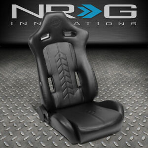 Nrg Innovations Pvc Reclinable Sport Racing Bucket Seat W Slider Right Rsc 810bk