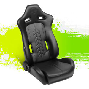 Nrg Innovations Arrow Pvc Fully Reclinable Racing Bucket Seat Right Rsc 810bk