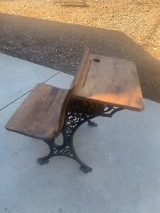 Vintage Child S School Desk Wood Cast Iron Seat Fold Up