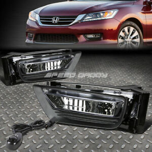For 13 15 Honda Accord Sedan Clear Lens Bumper Driving Fog Light Lamps W switch