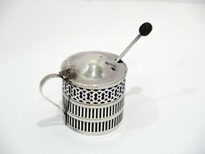2 3 8 Sterling Silver Blue Glass Webster Antique Openwork Salt Cellar W Spoon