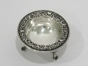 2 5 8 In Sterling Silver S Kirk Son Antique Floral Repousse Rim Salt Cellar