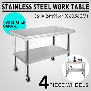 Stainless Steel Commercial Kitchen Work Food Prep Table W 4 Casters 36 x24