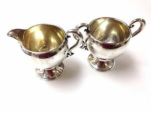 Vintage Redlich Sterling Silver Creamer And Sugar Footed Not Weighted 1366