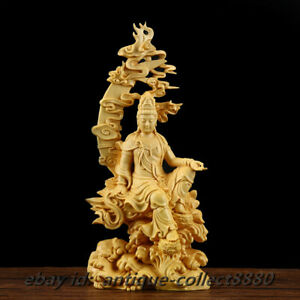 China Box Wood Hand Carved Buddhism Water Moon Kuan Yin Kwan Yin Guan Yin Statue