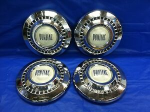Vintage Set Of 4 1955 57 Pontiac Dog Dish Hubcaps Chieftain Good Condition