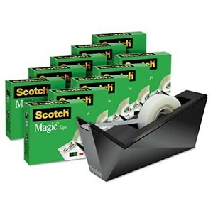 Scotch Magic Tape With Desktop Dispenser 3 4 X 1 000 Clear Pack Of 10 Roll