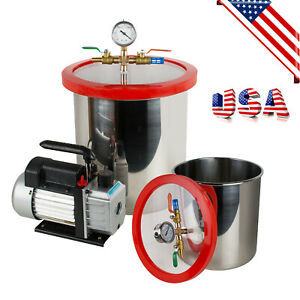 us Warehouse 5 Gallon Stainless Steel Vacuum Degassing Chamber Kit 3cfm Pump