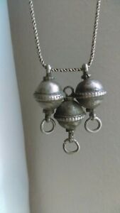 Antique Asian Jewelry Old Silver Pendant Safavidqajar With Silver Chain