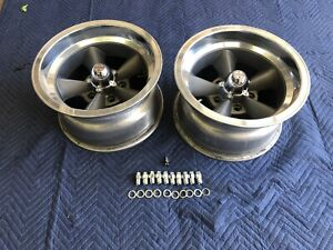 Vintage Pair15 X 8 5 American Torque Thrust Style Polished Lip Chevy 5 On 4 3 4