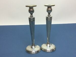 Pair Of Vintage Tall Crown Silver Co Sterling Silver 925 Weighted Candle Sticks