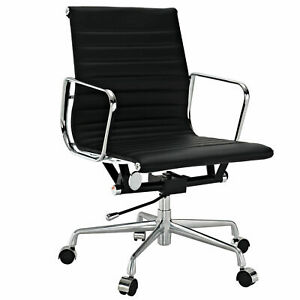 Eames Ribbed Mid Back Management Office Chair Reproduction Black Leather