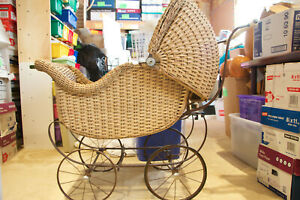 Antique Wicker Baby Buggy Carriage Stroller Pram Heywood Wakefield Local Pickup
