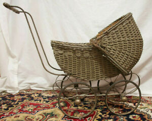 Antique Wicker Baby Or Doll Buggy Carriage Stroller Pram Local Pick Up Only