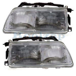 For 90 91 Civic Crx Front Headlight Headlamp Head Light Lamp W bulb Set Pair