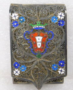 Portuguese Continental 850 Silver Gilt Filigree Enamel Cigarette Card Vesta Case