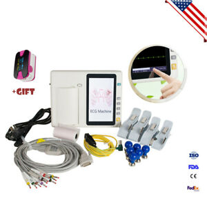 7inch Lcd Touch Screen Digital 3 channel Electrocardiograph Ecg ekg Ce Portable