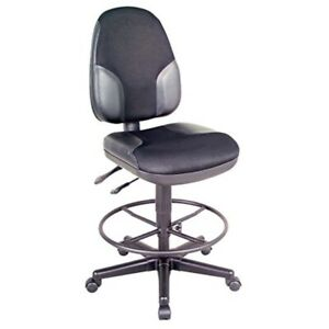 Alvin Ch555 95dh Black High Back Drafting Height Monarch Chair With Leather Acc