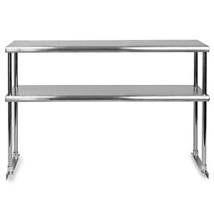 Commercial Stainless Steel Double Over shelf 12x48 For Work Table