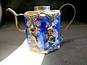 Antique Qing Dyn Daoguang Emperor 1821 1850 Ad Ceramic Silver Teapot Used