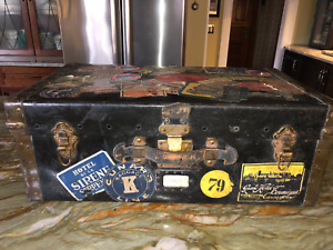 Vintage Antique Steamer Travel Trunk With Destination Labels Decals