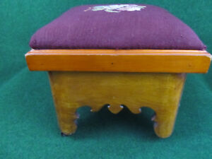 Antique Prohibition Foot Stool Secret Hiding Spot Needlepoint Victorian Ottoman