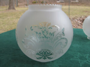 Antique Victorian 1800 S Etched Glass Ball Shade For Parlor Banquet Oil Lamp
