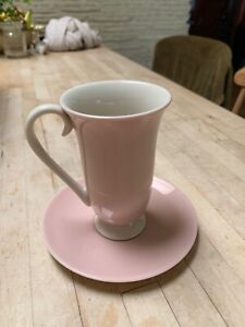 Pale Pink And Cream Tall Tea Cup Porcelain