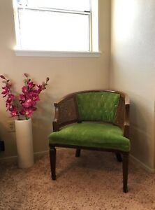 Vintage French Country Wood Cane Emerald Green Velvet Tufted Accent Club Chair
