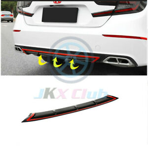 Black Red Pp Rear Bumper Diffuser Lip Spoiler Wing For Honda Accord 2018 2019