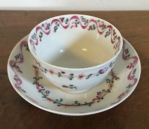 Antique English New Hall Porcelain Tea Cup Bowl Saucer 18th C Sprig Flowers