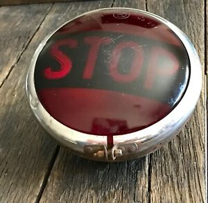 Vintage Bus Stop Signal Large Red Glass Stop Signal Light Hot Rod Light