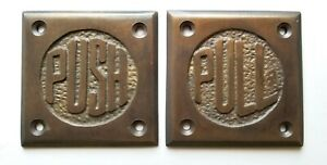 Set Of Art Deco Door Pull And Push Signs Unique Antique Solid Brass 2 1 2 F11