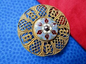 5841 Pretty Cloisonn Enamel Set In Pierced Brass Antq Button Cut Steel Ome Lrg