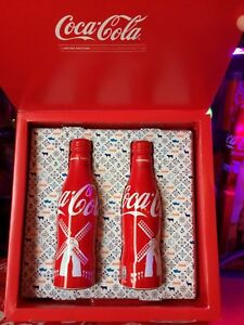 NETHERLANDS  BOX with 2 Limited Edition Coca-Cola Bottles-Flashe-Boitelle-Fles